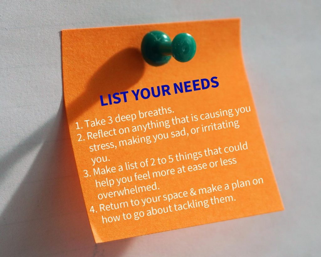 list your needs